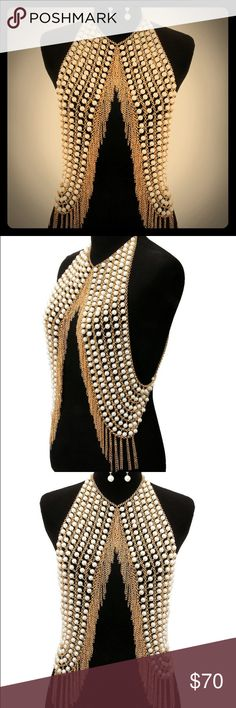 """NWT pearl vest body chain necklace 16"""" pearl vest body chain necklace with collar bib choker. Just a show stopper! Comes with matching earrings as set. Jewelry Necklaces"""
