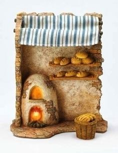 Fontanini 75 Religious Christmas Nativity Lighted Bakery Shop Set 50845 >>> You can get additional details at the image link. Miniature Crafts, Miniature Houses, Fontanini Nativity, Christmas Nativity Scene, Nativity Crafts, Miniture Things, Clay Crafts, Clay Art, Seasonal Decor