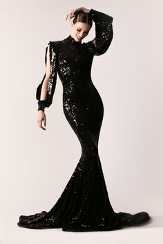 c5b51a7647169 MaySociety — Michael Costello Fall/Winter 2016 Dinner Gowns, Michael  Costello, Black Wedding