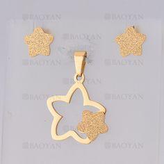 juego dije con aretes de estrella de dorado en acero inoxidable-SSSTG1074681