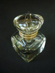 Antique Inkwell Glass & Brass