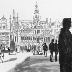 Grand-Place ( Grote Markt) Brussels. Someone asked me in another post how long it took me to do one of these drawings, this one took me around 25 minutes #brussels #sketch #sketchbook #sketchingforfun #travelingdsketchpad #grandplace #grotemarkt