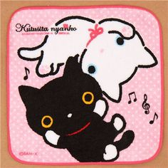 pink dotted Kutusita Nyanko cats towel from Japan