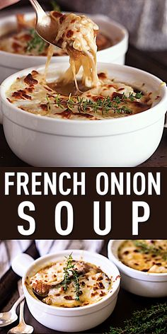 French Onion Soup: Hands-down the best I've ever tried. The broth is so rich and flavorful, and it's got the perfect blend of gooey, stretchy cheese. I'll be making this all winter long! Onion Soup Recipes, Chicken Recipes, Baked Onion Soup Recipe, Homemade Onion Soup Recipe, Crockpot French Onion Soup, Onion Soups, Vegetarian Recipes, Cooking Recipes, Healthy Recipes