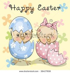 Greeting Easter card Two hatched chicks on a flowers background