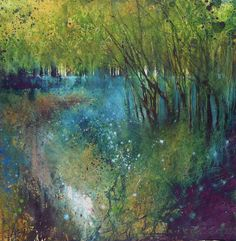 Stewart Edmondson - Bluebells Shine like stars in the woods - reprint on high quality paper via UK gallery Watercolor Landscape, Abstract Landscape, Landscape Paintings, Watercolor Paintings, Watercolors, Watercolor Painting Techniques, Encaustic Painting, Tree Art, Beautiful Landscapes