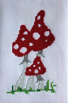 cross-stitch mushrooms
