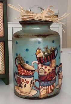 1 million+ Stunning Free Images to Use Anywhere Painted Milk Cans, Painted Mason Jars, Glass Bottle Crafts, Bottle Art, Jar Art, Decoupage Vintage, Country Paintings, Country Crafts, Bottle Painting