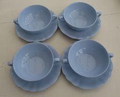 J & G Meakin Glamour Celeste Blue Set of 4 Soup Bowls (With Handles) + Saucers
