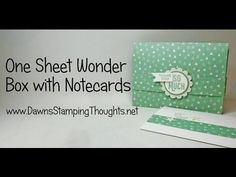 One Sheet Wonder Note Cards and Box with It's My Party Designer paper from Stampin'Up! - YouTube