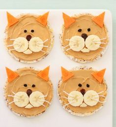 Kitty Cat Rice Cakes Recipe - After school snacks Rice Cake Recipes, Rice Cakes, Baby Food Recipes, Food Cakes, Kitchen Recipes, Food Art For Kids, Cooking With Kids, Toddler Meals, Kids Meals