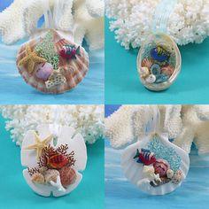 More ornaments featuring the antique fish. Seashell Ornaments, Seashell Art, Seashell Crafts, Holiday Ornaments, Christmas Bulbs, Holiday Decor, Tropical Decor, Coastal Decor, Ocean Crafts