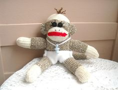 Teeny Tiny Baby Boy Sock Monkey by DeedleDeeCreations on Etsy, $15.00