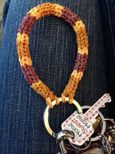 Rainbow loom keychain - Links to an Etsy page, but you crafty people can probably figure out how to do this.