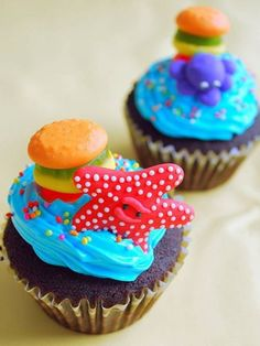 Spongebob cupcakes. The krabby patty gives it away. (IMAGE ONLY)