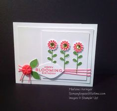 Stampin' Up! handmade card from So Many Toys So Little Time...: Paper Players Challenge 207 ... cute flowers using Flower Patch ... like the pink string wrap around the top layers ... paperclay flower ... die cut petal for the sentiment ... lovely card ...