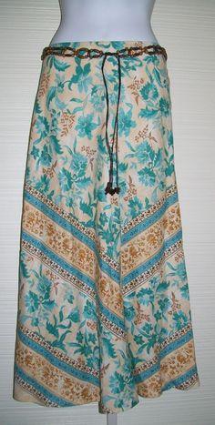 """sz 14 Linen Blend Skirt 36"""" Waist Beaded Belt Chevron Teal Brown Cream Mid Calf #RQT #ALine"""