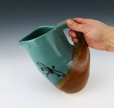 Dragonfly Pitcher in a blue and brown glaze by NewDayPottery, $48.00
