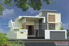 Stunning Single Floor House Plan Kerala Home Design Plans - Building Plans Single Floor Front Elevation Photos Image Single Floor House Design, House Roof Design, House Extension Design, Facade House, Modern House Design, Front Elevation Designs, House Elevation, Building Elevation, West Facing House