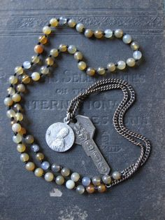 Clarity No. 2  Agate Prayer Beads with Vintage by savagesalvage