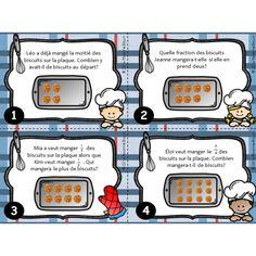 Ensemble de 18 cartes à tâches sur les fractions. À partir de l'image de la plaque à biscuits, l'élève doit déterminer le tout, la partie ou la fraction selon ce qui lui est demandé. Le document comprend également une