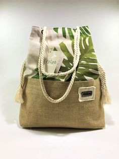 Two-way canvas/burlap bag Tropical Leaves