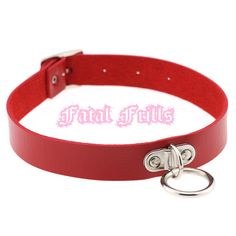 Red Leather O Ring Choker O-Ring Collar Fetish Goth Punk
