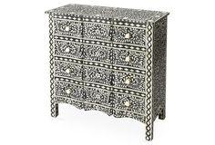 "Wesley Bone Inlay Dresser, Black - Moroccan Mosaic Style - 45""H x 18""D x 34.25""W -"