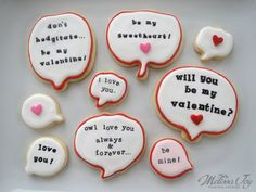Valentine Speech Bubble Cookies from pumpkin cookie cutters
