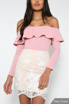Pink Sexy Off-shoulder Over-layer Bodysuit