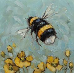 "6x6"" oil on panel. #beeartwork #bees #beeart #brushstrokes #colorful #nature #birdlover #laveryart # bumblebees #impressionistic#beesofinstagram #art #garden #whimsical #spring #laveryart #etsy #colorfulart #dailypaintings"