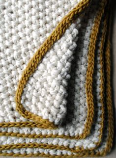 Great texture from the easy to knit seed stitch, plus a great looking I-cord finish. I-cord is great. I-cord needs to be added to many things. Purl Bee, Yarn Projects, Knitting Projects, Crochet Projects, Knitted Afghans, Knitted Blankets, Baby Blankets, Hand Knitting, Knitting Patterns