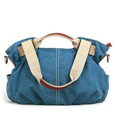 Eshow Women's Casual Canvas Hobo Shoulder Bag, Blue