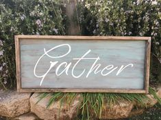 Wooden Framed Gather Sign in Rustic Blue