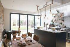 Remodeling Kitchen Lighting Kitchen extension case study: open-plan kitchen extension with industrial touches Small Open Plan Kitchens, Open Plan Kitchen Dining, Kitchen Living, New Kitchen, Small Kitchen Diner, Quirky Kitchen, Kitchen Modern, Living Room, Slow Design