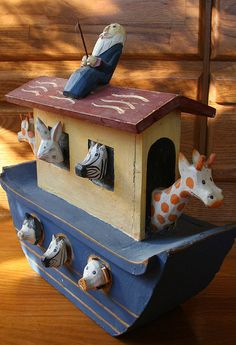Folk Art Wood Noah's Ark by PastClassics on Etsy