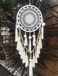 Gorgeous Handmade White Rimmed Single Circle Dream Catcher with White Crochet Web. White/Cream Pom Poms & Tassels Wood & Cream Plastic Beads - Refer Photos Circle - Length - Approx from the top of hanger to end of bottom tassel Please note: All D Big Dream Catchers, Doily Dream Catchers, Dream Catcher White, Dream Catcher Boho, Fingerless Gloves Crochet Pattern, Crochet Shoes Pattern, Crochet Towel, Crochet Doilies, Dreamcatcher Crochet