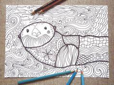 otter coloring adults colouring kids totem di LaSoffittaDiSte