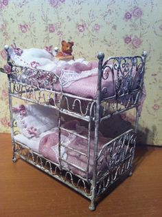 Dollhouse OOAK girls bunk bed by MyOwnRoom on Etsy