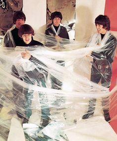 The Beatles at a photo shoot, circa 1965.5