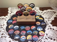 A personal favorite from my Etsy shop https://www.etsy.com/listing/245695784/just-12-nfl-football-cupcake-toppers