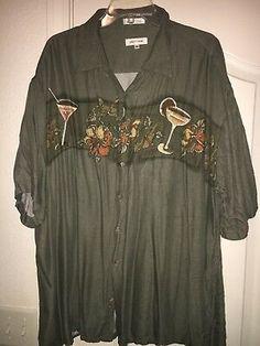 Pierre Cardin Men Shirt 2XL Extra Button Down Hawaiian Hibiscus Cocktails 0ed5c680cb7