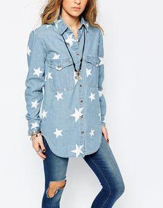 Image 3 ofGlamorous Oversize Denim Shirt with Star Print
