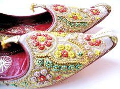 Vintage Arabian Nights Aladdin Beaded Slippers Shoes. $89.00, via Etsy.