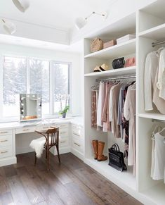 Marble vanity in white walk in closet by Calgary interior designers Reena Sotropa In House Design Group Walk In Closet Design, Bedroom Closet Design, Master Bedroom Closet, Closet Designs, Bedroom Decor, Spare Room Closet, Closet Rooms, Bedroom Closets, Bedroom Small