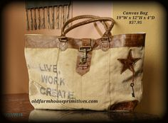 """☆☆BACK in STOCK☆☆ ★""""Mona B"""" Recycled Canvas Bag (Live, Work, Create). Loads of trendy vintage bags coming mid September! Love it ALL!"""