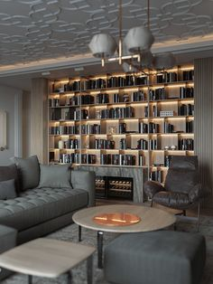 BREATH - Dezign Ark (Beta) Living Room Home Theater, Home Library Rooms, Home Library Design, Home Libraries, Home Room Design, Modern Library, Living Room Modern, Home Interior Design, Living Room Designs