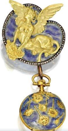 Lalique  1893 Brooch & Pendant Watch. 18k gold/ diamond/ enamel. sothbys.com From maries-jewels-royals.blogspot