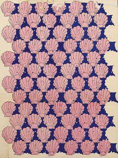Raoul Dufy, coquilles st Jacques roses sur fond bleu Bianchini Textiles Collection