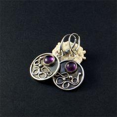 Earrings, sterling silver and amethyst